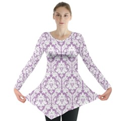 Lilac Damask Pattern Long Sleeve Tunic