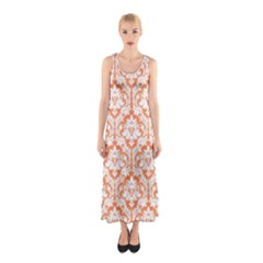 Nectarine Orange Damask Pattern Sleeveless Maxi Dress