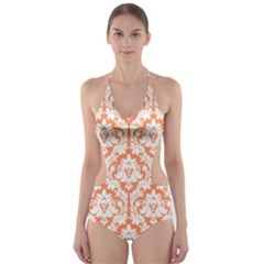 Nectarine Orange Damask Pattern Cut Out One Piece Swimsuit