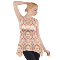 Nectarine Orange Damask Pattern Side Drop Tank Tunic