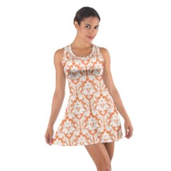 Nectarine Orange Damask Pattern Cotton Racerback Dress