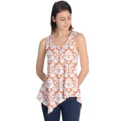 Nectarine Orange Damask Pattern Sleeveless Tunic