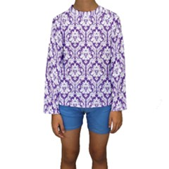 White On Purple Damask Kid s Long Sleeve Swimwear