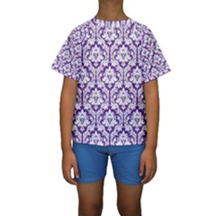 White on Purple Damask Kid s Short Sleeve Swimwear