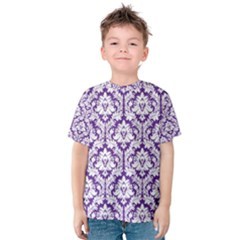 White on Purple Damask Kid s Cotton Tee