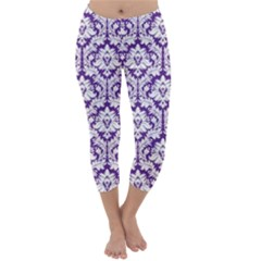 Royal Purple Damask Pattern Capri Winter Leggings
