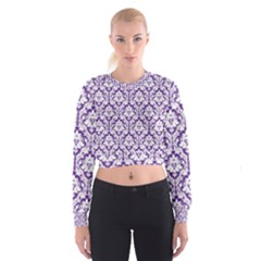 Royal Purple Damask Pattern Women s Cropped Sweatshirt
