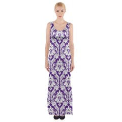 Royal Purple Damask Pattern Maxi Thigh Split Dress