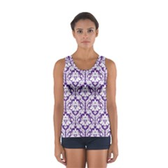 Royal Purple Damask Pattern Women s Sport Tank Top