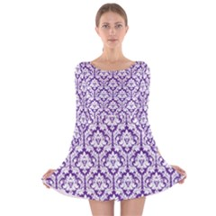 Royal Purple Damask Pattern Long Sleeve Velvet Skater Dress