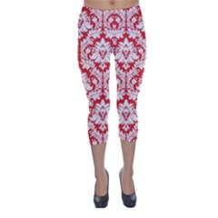 Poppy Red Damask Pattern Capri Winter Leggings