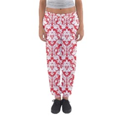 White On Red Damask Women s Jogger Sweatpants