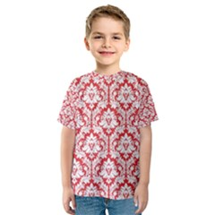 White On Red Damask Kid s Sport Mesh Tee