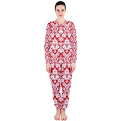 White On Red Damask Onepiece Jumpsuit (ladies)