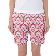 White On Red Damask Women s Basketball Shorts