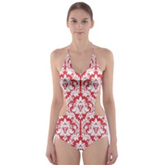 Poppy Red Damask Pattern Cut-Out One Piece Swimsuit