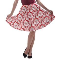 Poppy Red Damask Pattern A Line Skater Skirt