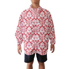 White On Red Damask Wind Breaker (kids)