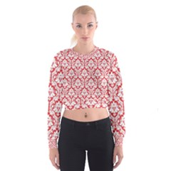 Poppy Red Damask Pattern Women s Cropped Sweatshirt