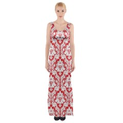Poppy Red Damask Pattern Maxi Thigh Split Dress