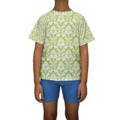 White On Spring Green Damask Kid s Short Sleeve Swimwear