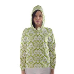 Spring Green Damask Pattern Hooded Wind Breaker (women)