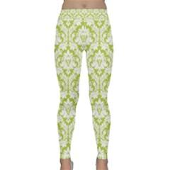 Spring Green Damask Pattern Yoga Leggings