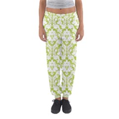 White On Spring Green Damask Women s Jogger Sweatpants