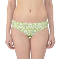 Spring Green Damask Pattern Hipster Bikini Bottoms