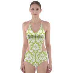 Spring Green Damask Pattern Cut-Out One Piece Swimsuit