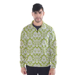 White On Spring Green Damask Wind Breaker (Men)