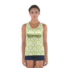 Spring Green Damask Pattern Women s Sport Tank Top