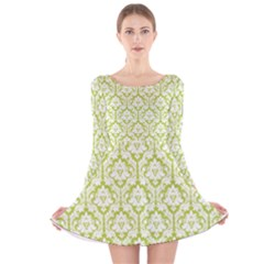 Spring Green Damask Pattern Long Sleeve Velvet Skater Dress