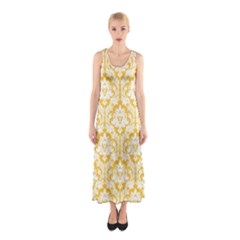 Sunny Yellow Damask Pattern Sleeveless Maxi Dress