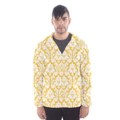 White On Sunny Yellow Damask Hooded Wind Breaker (men)