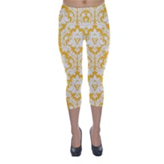 Sunny Yellow Damask Pattern Capri Winter Leggings