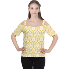 Sunny Yellow Damask Pattern Women s Cutout Shoulder Tee