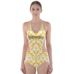 Sunny Yellow Damask Pattern Cut-Out One Piece Swimsuit