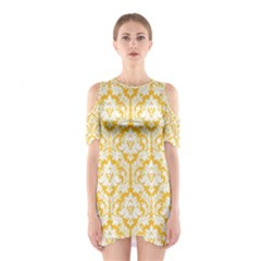 Sunny Yellow Damask Pattern Women s Cutout Shoulder Dress