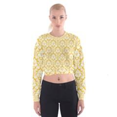 Sunny Yellow Damask Pattern Women s Cropped Sweatshirt