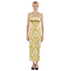 Sunny Yellow Damask Pattern Fitted Maxi Dress