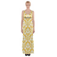 Sunny Yellow Damask Pattern Maxi Thigh Split Dress