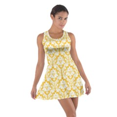 Sunny Yellow Damask Pattern Cotton Racerback Dress