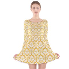 Sunny Yellow Damask Pattern Long Sleeve Velvet Skater Dress