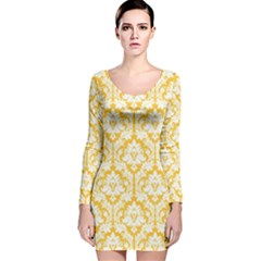 Sunny Yellow Damask Pattern Long Sleeve Velvet Bodycon Dress