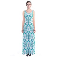 Turquoise Damask Pattern Sleeveless Maxi Dress