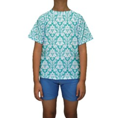 White On Turquoise Damask Kid s Short Sleeve Swimwear