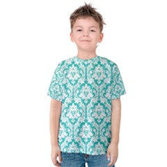 White On Turquoise Damask Kid s Cotton Tee