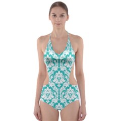 Turquoise Damask Pattern Cut-Out One Piece Swimsuit