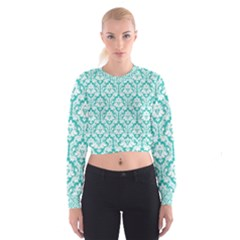 Turquoise Damask Pattern Women s Cropped Sweatshirt